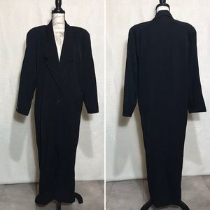 Nordstrom 100% Wool Long Black Trench Coat